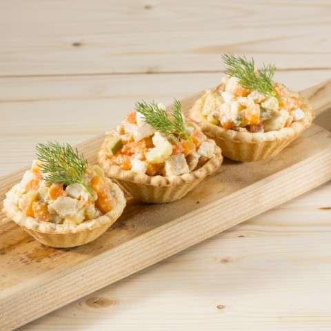 Рецепт салата в тарталетках с ветчиной 124