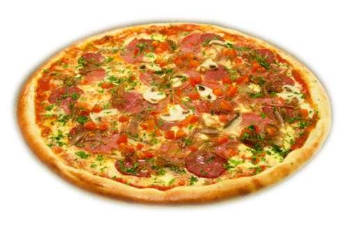 Пицца с колбасой и сыром и помидорами рецепт в духовке