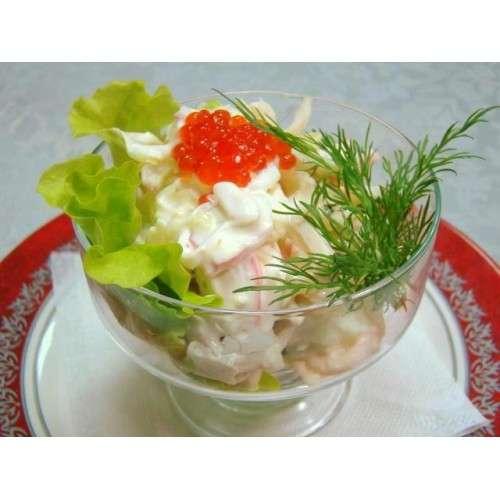 Салат из кальмар и креветок и с икрой с фото