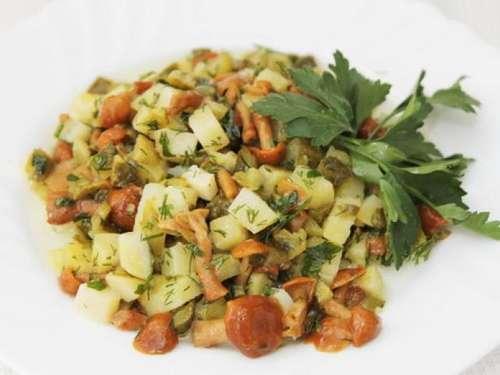 Фото салатов с опятами